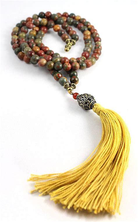prayer bead necklace mala bead necklace jasper mala tassel mala japa