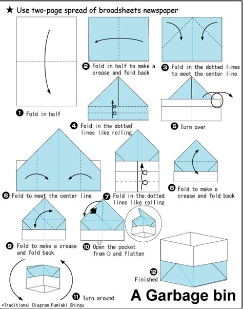 how to fold a origami box garbagebin 1