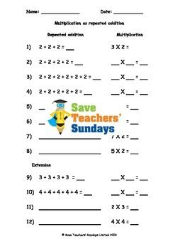 repeated addition worksheets  levels  difficulty