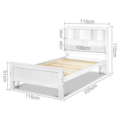 King Bed Frame Storage by King Single Belmore Wooden Bed Frame With Storage Shelf Heavy Duty White Sleep Ebay