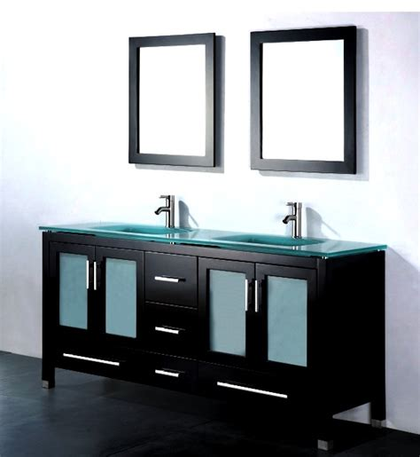 Inch Double Sink Bathroom Vanity - amara 60 inch modern glass top double bathroom vanity