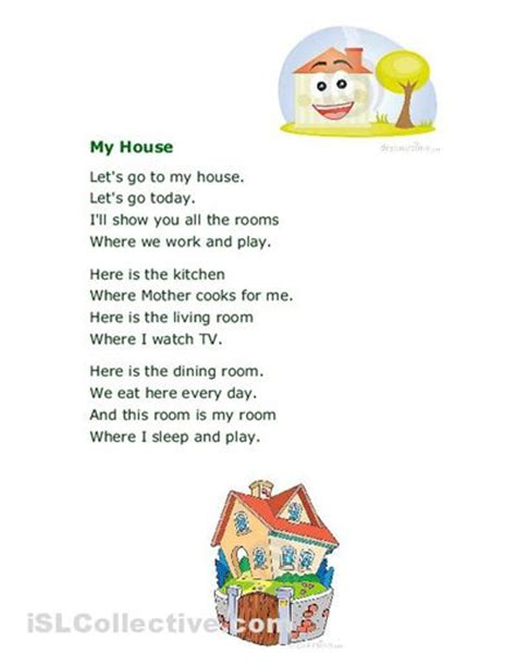 rhymes with house house worksheets poem my house worksheet free esl