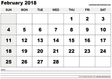 Calendar February 2018 February 2018 Calendar