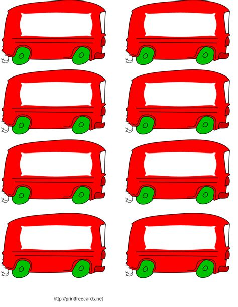 printable bus tags for students free printable name tags red bus school pinterest