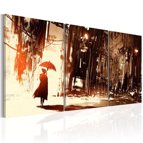 wohnzimmer bild 3 teilig wandbilder wohnzimmer leinwand bilder stadt regen frau