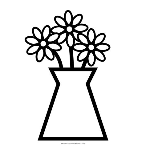vaso con fiori da colorare vaso di fiori da colorare