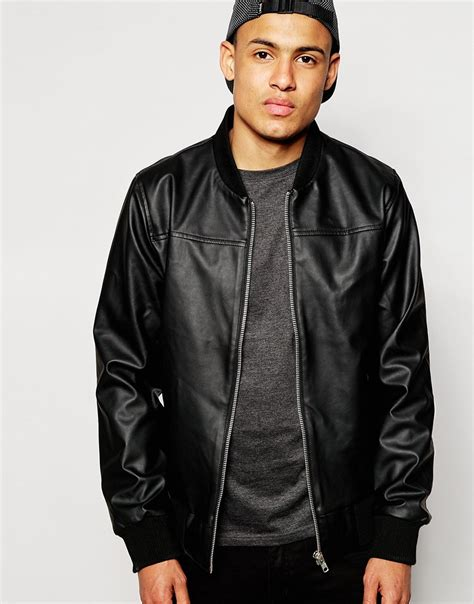 faux leather bomber d struct folly faux leather bomber jacket in black for