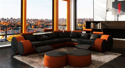 orange and black sofa divani casa 3087 modern black and orange leather