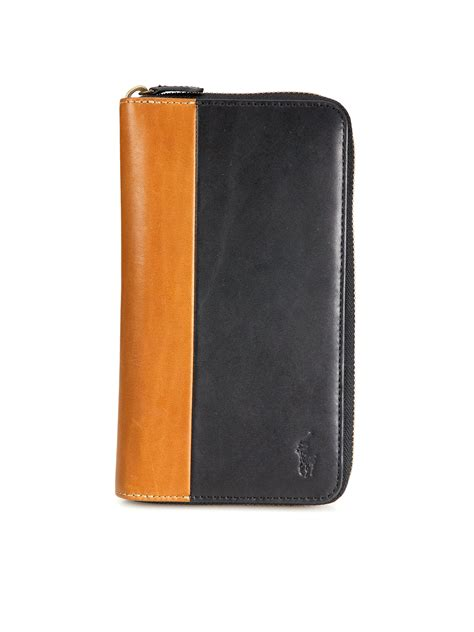 Polo Wallet For lyst polo ralph two toned leather zip wallet in black for