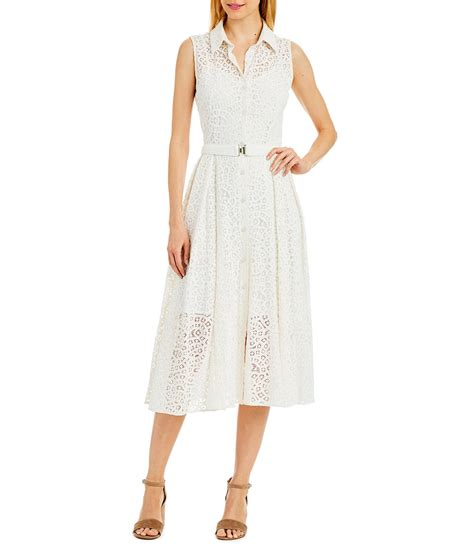 Dress Tile Lace New miller new york belted lace midi dress dillards