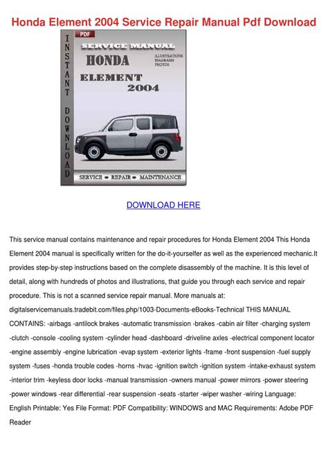 service manual pdf 2004 honda pilot repair manual 2004 honda pilot owner s manual original honda element 2004 service repair manual pdf by alvawatson issuu