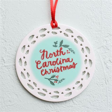 quot north carolina christmas quot porcelain ornament inspired