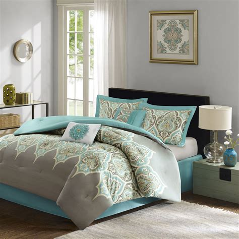 Teal Bedding by Beautiful Tropical Bohemian Grey Teal Blue Green Aqua