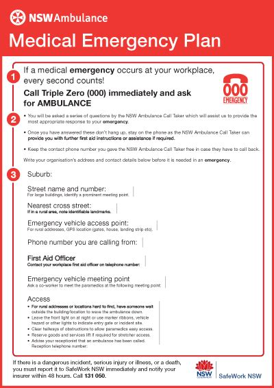 emergency procedures in the workplace template emergency plan nsw ambulance