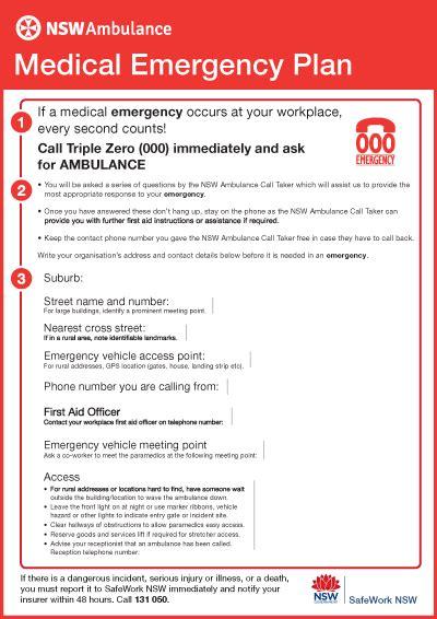 Medical Emergency Plan Nsw Ambulance Health Emergency Response Plan Template