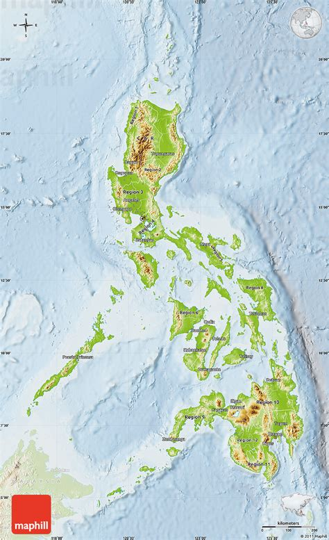 physical map of philippines physical map of philippines lighten
