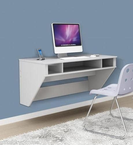 prepac white floating desk home office apartment table