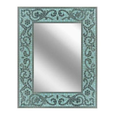deco mirror 26 in x 33 in sea glass mirror 8548 the