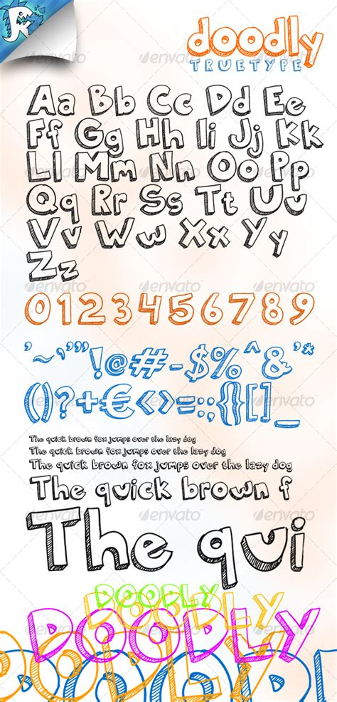 doodle print font free fonts doodly truetype awesome doodle font