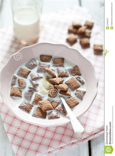 Chocolate Pillows Cereal by Crispy Cereal And Chocolate Pillows With Milk Royalty Free