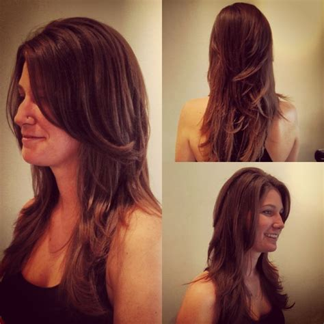 small hairstyle changes for long layers haley short v cut layers on long hair by anna armstrong