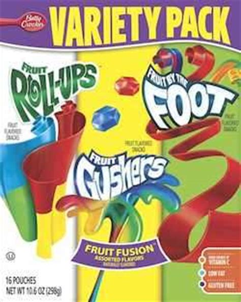 2 fruit by the foot in one package betty crocker variety pack gushers fruit