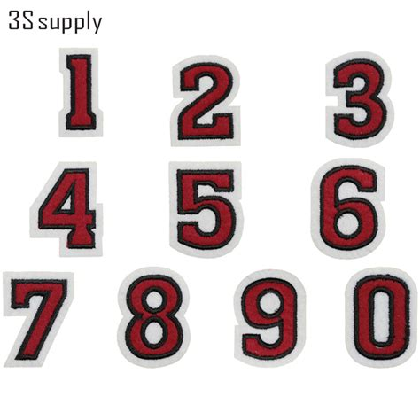 Set Embroided 1 1 set 0 to 9 numbers patch embroidered patches for