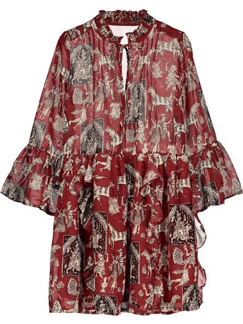 Printed Sleeve Chiffon Dress printed ruffle flare sleeve chiffon dress chiffon