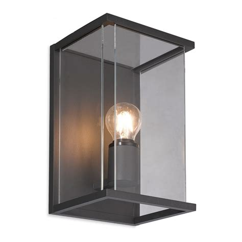 carlton outdoor box wall lantern in graphite with clear