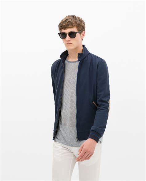 Jaket Hoody Pique zara pique jacket with contrast piping in blue for lyst