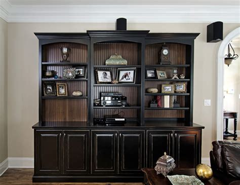 black living room cabinet black painted bookcase with beadboard interior