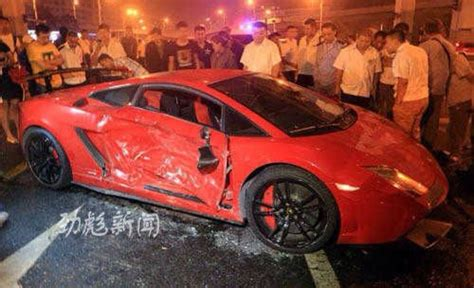 crashed red lamborghini lamborghini gallardo sts crashes in china gtspirit