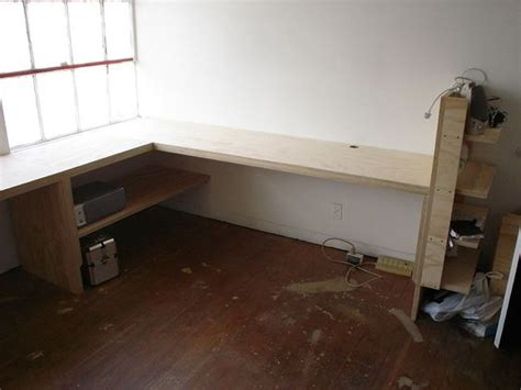 Plywood Corner Desk Custom Built Office Desk Custom Desk Made From 1 Quot Plywood Installed In Industrial Office Space