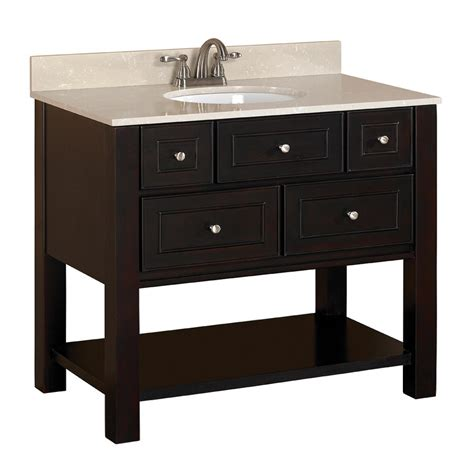 allen roth hagen espresso undermount single sink birchpoplar bathroom vanity  engineered