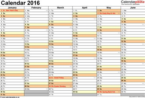 printable yearly calendar 2016 uk calendar 2016 uk 16 free printable word templates