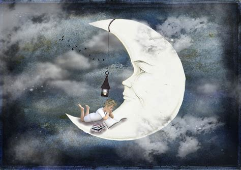 a sky of books free illustration moon boy books clouds sky free