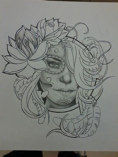 sugar skull woman tattoo sugar skull by artintheflesh on deviantart