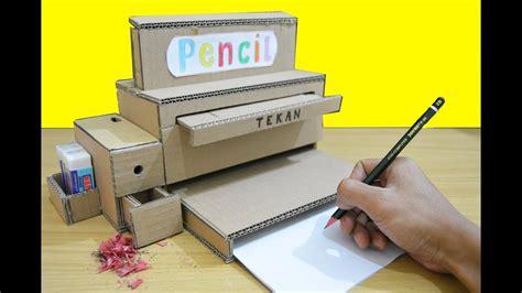 cara membuat yel yel sekolah keren dari selembar kardus menjadi mesin pensil dan