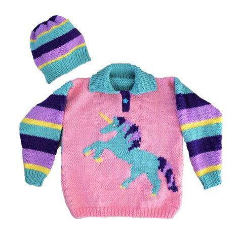 unicorn knitting pattern unicorn sweater and hat knitting pattern by iknitdesigns