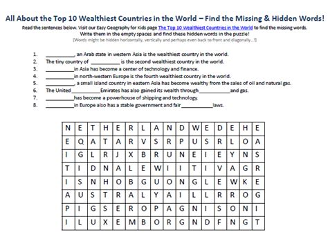 What In The World Worksheets by Image Of Top 10 Wealthiest Countries In The World