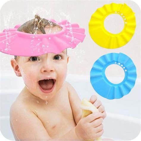 Promo Shower Cap Karakter 2018 2015 safe shoo baby shower cap bathing bath protect soft cap hat for baby children