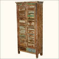 Rustic shutter door reclaimed wood armoire wardrobe cabinet