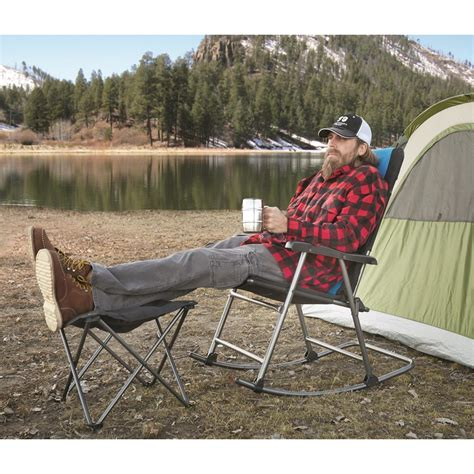 guide gear oversized rocking camp chair  lb capacity blue  chairs  sportsmans