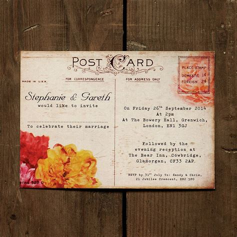 floral vintage postcard wedding invitation by feel good