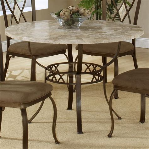 round granite dining table round dining table with fossil stone top by hillsdale