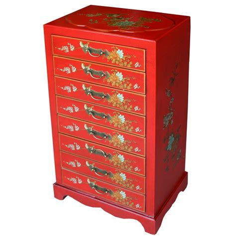 oriental painted bedside table