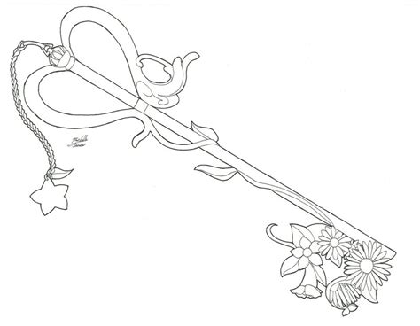 coloring page key chain kairi s key blade line art by yueasazuki on deviantart