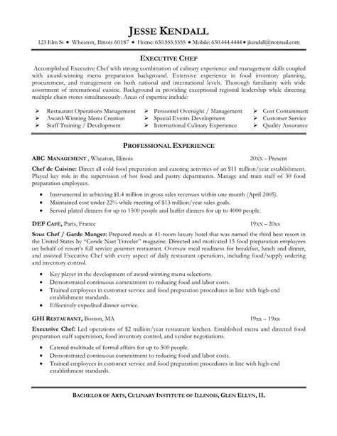 Culinary Resume Templates by Chef Resume Objective Free Excel Templates