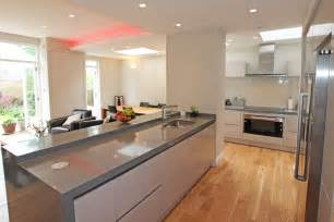Open Plan Galley Kitchen - cashmere laminate kitchens from lwk kitchens