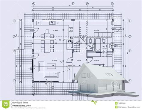 Beach House Floor Plans drawing with 3d house royalty free stock image image